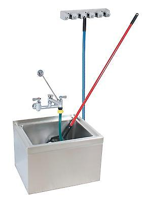 "BK Resources 16""x20""x12"" Floor Mount Stainless Steel Mop Sink Kit"