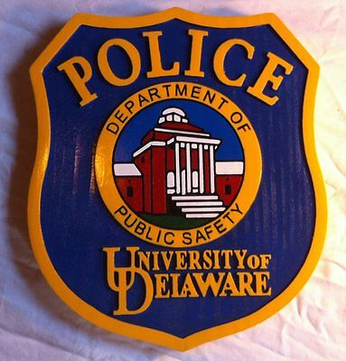 Police Department Delaware Patch Sign 3D routed  award plaque Wooden