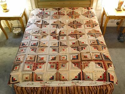 MAINE ANTIQUE 19th C LOG CABIN Quilt Top Hand Made Quilted As Is
