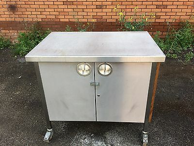 Stainless Steel Mobile Prep Bench Cupboard Table Work Surface Shelf Catering