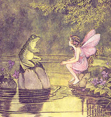 Fairy Meets With Frog,toad At Lily Pad Pond,ida Rentoul Outhwaite,greeting Card