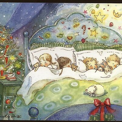 """Becky Kelly..christmas Eve Children Dream """"visions Of Sugar Plums"""" Greeting Card"""