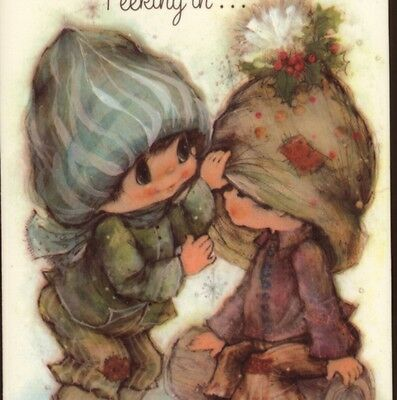 "Mary Hamilton...darling Kids ""peeking In..."" Christmas,collectible Greeting Card"