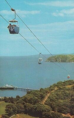 Great Orme Welsh Cable Car Cars Scary 1970s Postcard