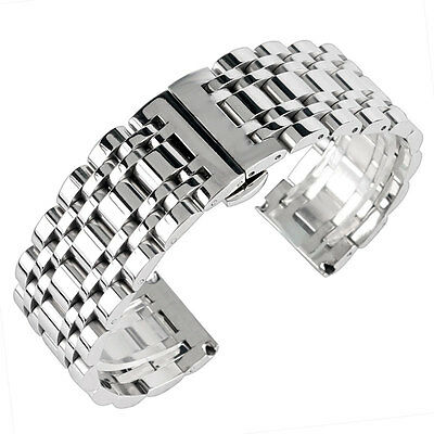 Silver 20/22/24mm Watch Band Strap Mens Solid Stainless Steel Bracelet Watchband