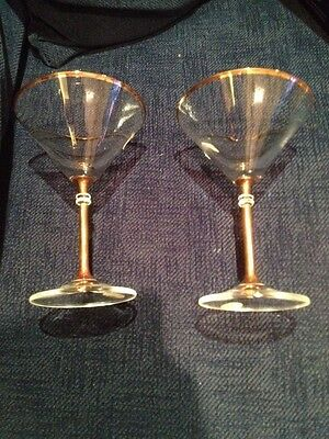 Bohemia Crystal martini glasses with gold rim and stem x 2