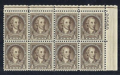 1932 US 704 George Washington 1/2 Cent Broken Circle Flaw Plate Block of 4*