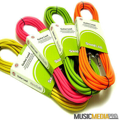 6M Jack to Jack OFC cable Lead Fluro Colours Instruments Mixers Patch Guitars DJ