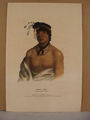 Antique 1838 F W Greenough Wesh-Cubb A Chippeway Chief Color Lithograph