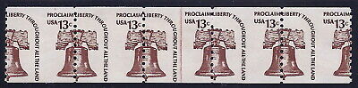 "1618 - 13c Misperf in Center Error / EFO Line Strip of 5 ""Liberty Bell"" Mint NH"
