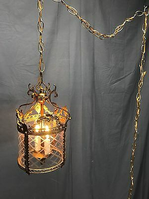 Antique Vintage Ornate Brass Etched Glass Swag Lamp Light Art Nouveau Gothic Neo
