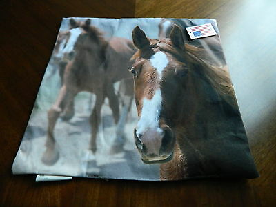 Horse Horses White faced Brown Horses NEW Tapestry Pillow Cover Shell Top U Fill