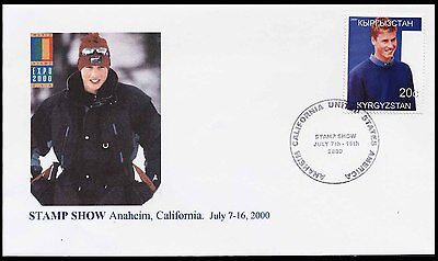 2000 Kyrgyzstan - Anaheim Stamp Show - Prince William (Skiing) - Cover - J71