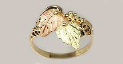 Gold Ring Black Hills Artisan 12kt Red Green Grape Leaf Ancient Alexandria Egypt