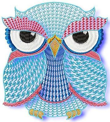 OWLS MIXED 15 MACHINE EMBROIDERY DESIGNS CD 2 SIZES (great value)