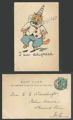 LOUIS WAIN Artist Signed Cat Clown, I am delighted, Write Away 1903 Old Postcard