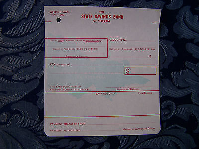 1970s THE STATE SAVINGS BANK OF VICTORIA WITHDRAWAL FORM