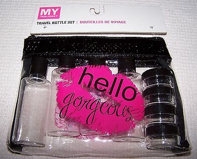 My Tagalongs HELLO GORGEOUS Travel Bottle Set 9 Piece Set CLEAR/PINK/BLACK ~ NWT