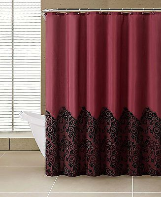 Red & Black Lace Luxury Home 13 Piece Dainty Shower Curtain & Hook Set