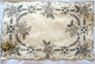 Set of 4 Antique MADEIRA Linen Embroidery Cut work  Placemats Vintage
