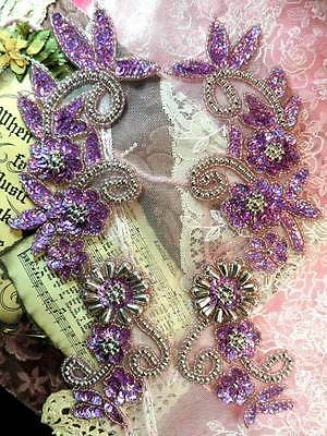 Sequin Appliques Lavender Holographic Silver Beaded Accents Mirror Pair (0183)