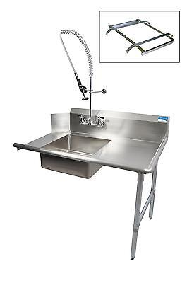 "BK Resources 26"" Soiled Dishtable Right w/ Pre-Rinse Faucet & Rack Guide"