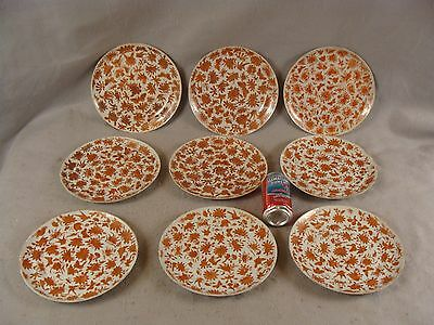 9 Antique 19C Chinese Export Porcelain Iron Red Sacred Bird & Butterfly Plates