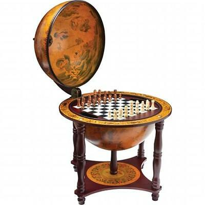BNFUSA Kassel 13 in. Diameter Globe with 57 Pieces Chess and Checkers Set