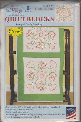 """1 Pk Jack Dempsey """"Fiesta Flowers"""" Stamped Embroidery Quilt Blocks"""