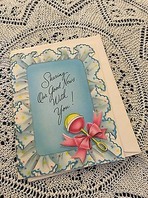 Vintage Greeting Card New Baby Rattle Pillow