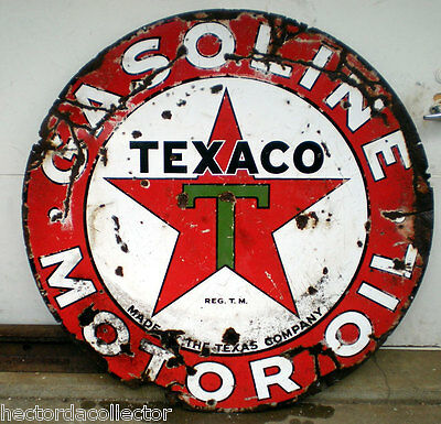 "Original 42"" Round Double Sided TEXACO Porcelain Sign Gasoline Motor Oil"