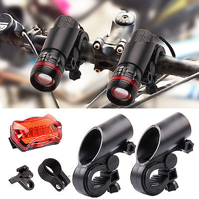 2x CREE Q5 LED Mountain Bike Bicycle Cycling Zoomable Front  Lights + Rear Lamp