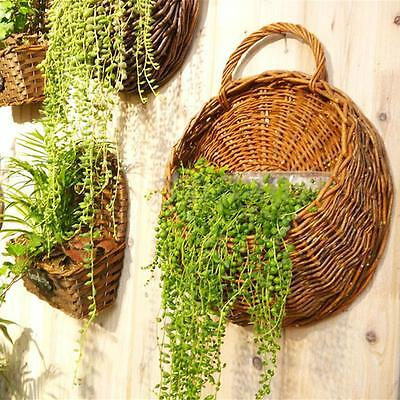 Wall Mounted Plant Flower Hanging Stand Holder Hydroponic Wicker Weave Basket
