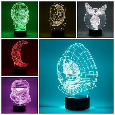 3D Touch Control LED 7-Color Changing USB Desk Table Night Light Lamp Decor