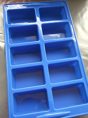 Silicone Mould (10) Rectangle Mini Loaf-Soap/Chocolate/Cake Bar/ Baking Tray