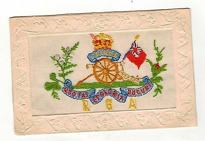 Ww1.embroidered Silk Postcard.royal Garrison Artillery.