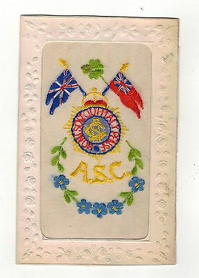 Ww1.embroidered Silk Postcard.- Army Service Corps