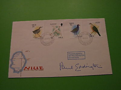 Niue Fdc Cover Birds Signed Paul Eddington Ltd Ed 9 Of Only 13 .. See Post Offer