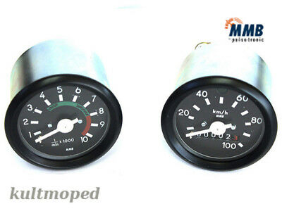 Simson Set DZM & Speedometer Tachometer Speedometer Black up to 100KMH