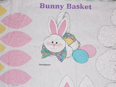 "Easter New Fabric Panel Pastel Bunny Basket For Candies-Eggs-Gifts Etc 12"" High"