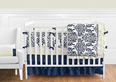Sweet Jojo Navy Blue White Damask Gold Dots Girl Crib Baby Bedding Comforter Set