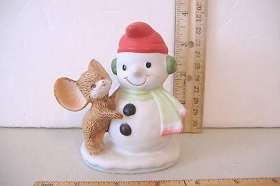 ~Mouse With Snowman~Homco`8905~Porcelain Figurine~