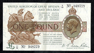 Warrren Fisher £1 Treasury Banknote T/73 ( T24 1919 )
