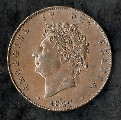 1827 George IV Copper Halfpenny Nice Quality