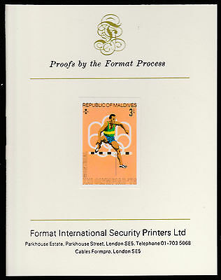 Maldives (486) 1976 Hurdling imperf on Format International PROOF  CARD