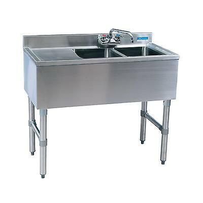 "Bk Resources 36""wx18-1/4""d Stainless Steel Slimline Underbar Sink - Bkubw-236Ls"