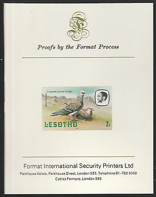 Lesotho (492) 1981 Rock Pigeon 2s imperf on Format International PROOF  CARD