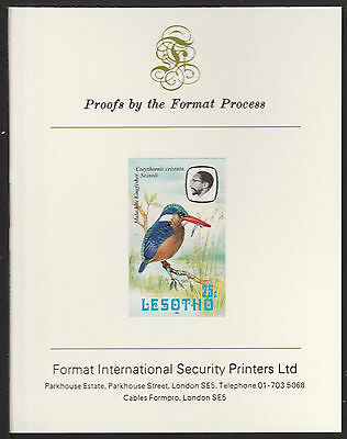Lesotho (498) 1981 Kingfisher 25s imperf on Format International PROOF  CARD