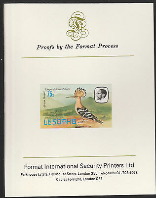 Lesotho (501) 1981 Hoopoe 75s imperf on Format International PROOF  CARD