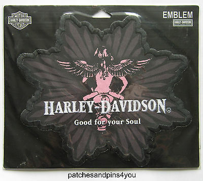 Harley Davidson Large GOOD FOR YOUR SOUL Sew On Patch New/Rare! FREE UK P&P!